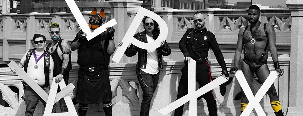 Diverse group of leather people holding the letters L A L P X X